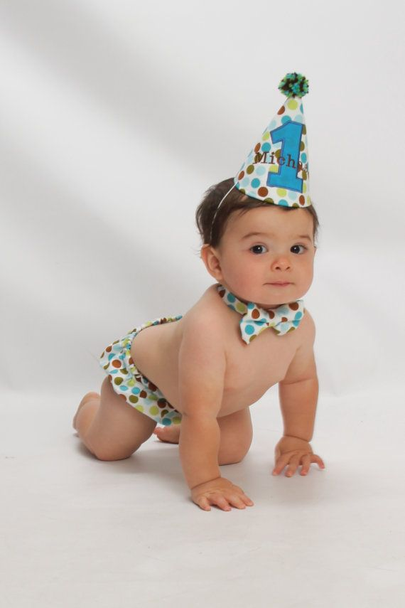 Polka Dot Baby Boy Cake Smash First Birthday Outfit Bow Tie Diaper Cover Party Hat On Etsy 4400