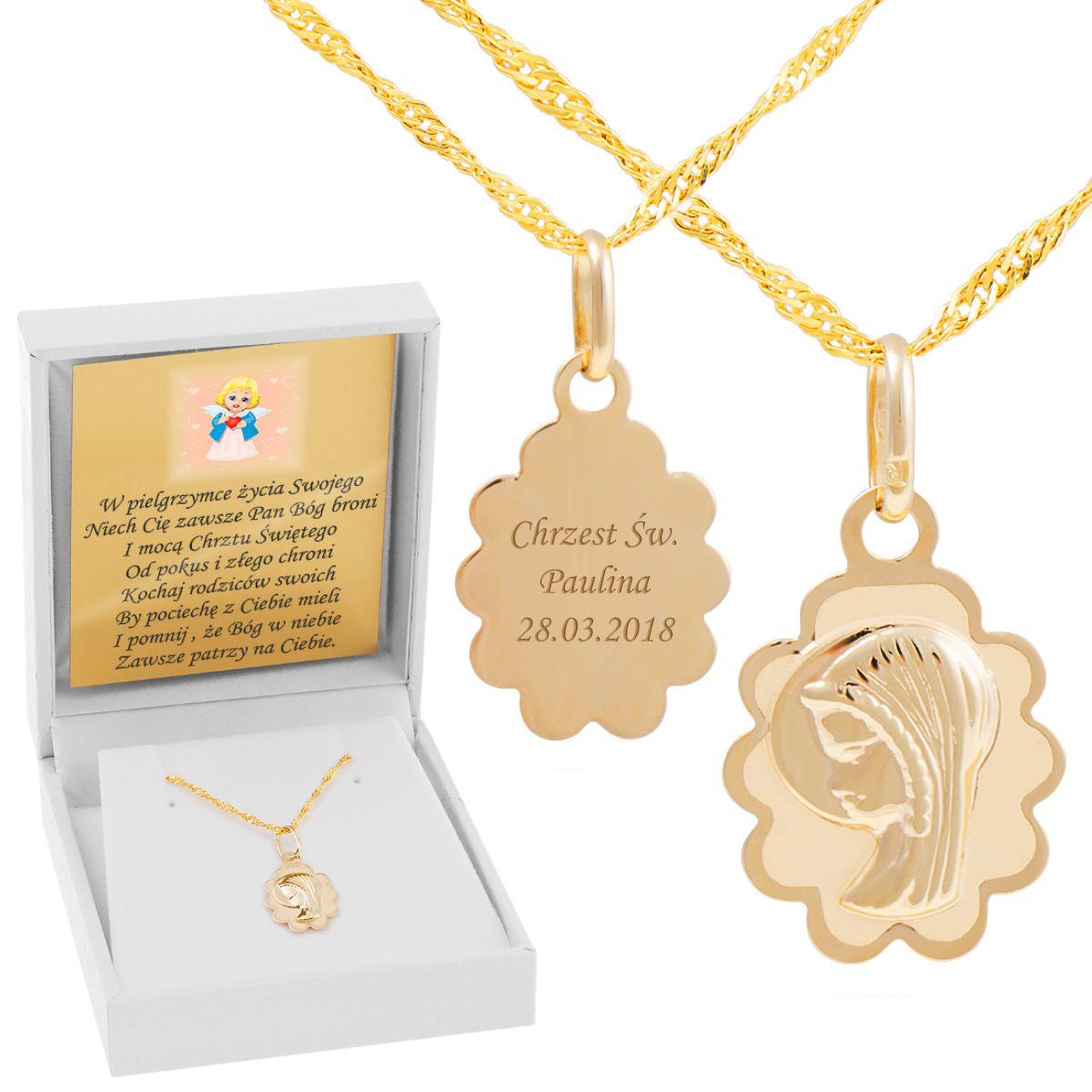 Zloty Medalik Matka Boska Chrzest I Komunia Sw Pr 585 Grawer