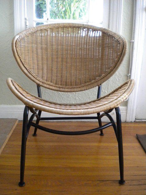 Mid Century Modern Rattan Chair I Found A Dilapidated Just Like This In An Alley Near My Home Now Need To Figure Out What Do With The Seat