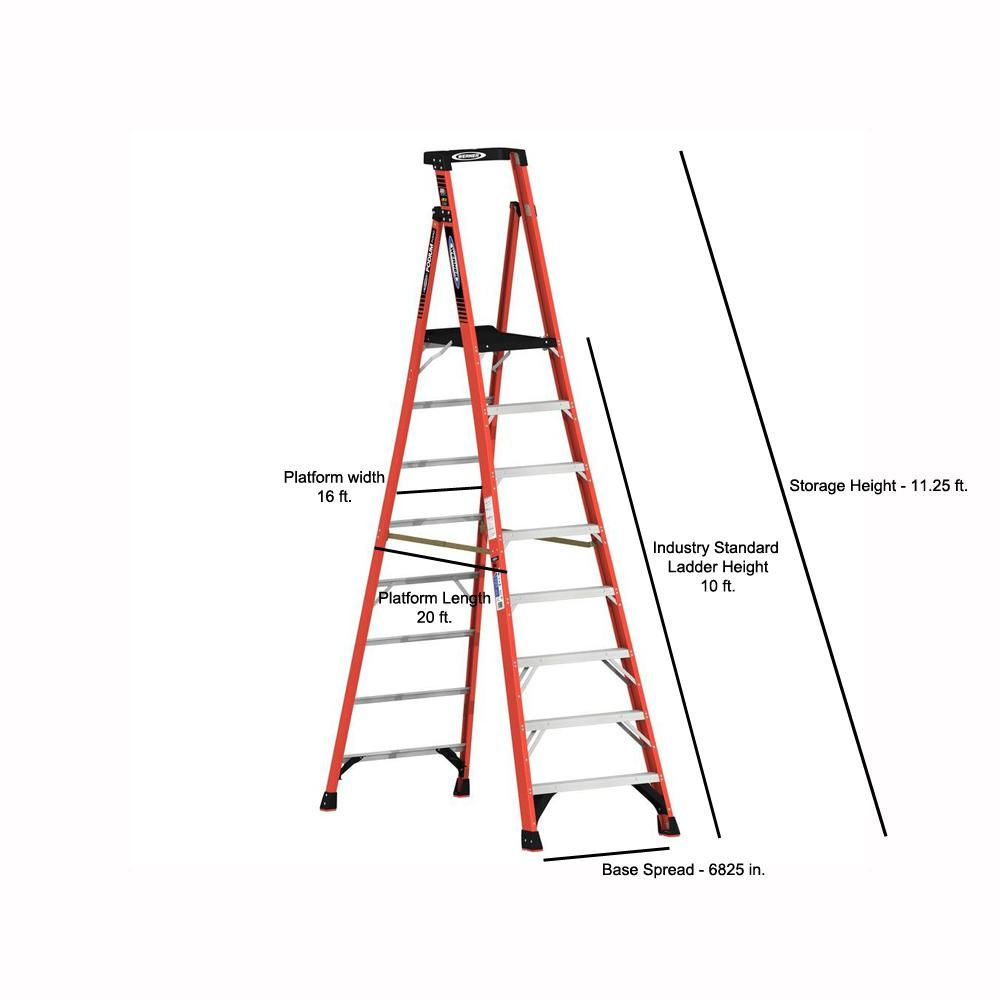 This Is 7 Step Self Supporting Platform Frp Ladder This Heavy Duty Fiber Glass Platform Ladder Is Designed For Prolong Stand Platform Ladder Ladder Fiberglass