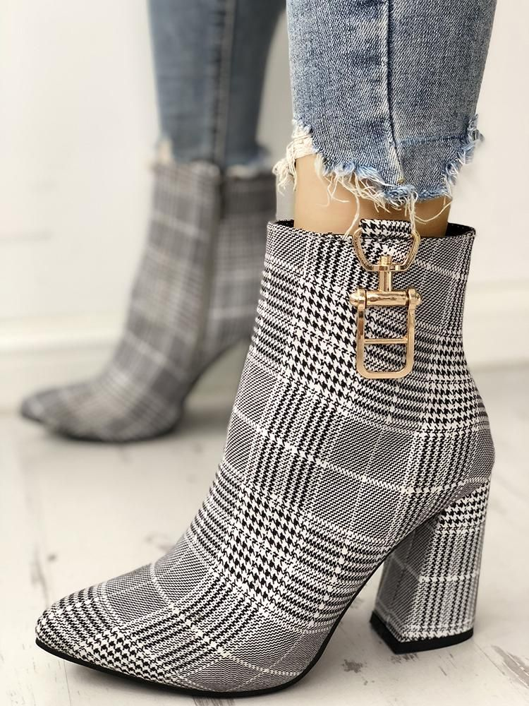 f508d465a8dd Houndstooth Print Metallic Decorated Chunky Boots in 2019