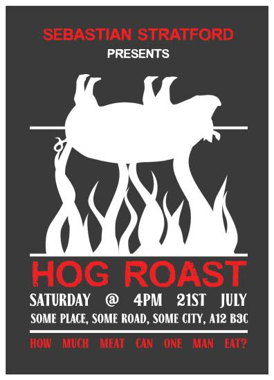Hog Roast Party Invites Personalised Printed Invitations