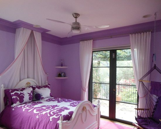Dark Purple Trim Around Ceiling And Bed Drape From Ceiling