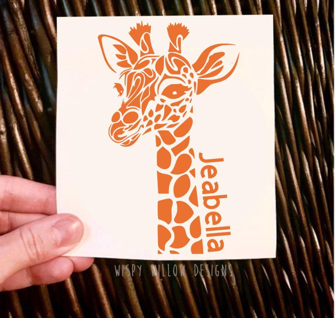 Personalized Giraffe Vinyl Decal Giraffe Decal Name Decal Animal Tumbler Car Decal Sticker Animal Decal Giraff Giraffe Decal Vinyl Decals Vinyl Tshirts