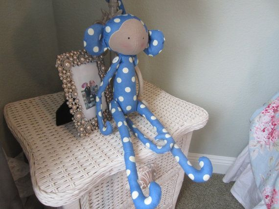 I created this darling polka dot monkey with a Tilda pattern. This ...