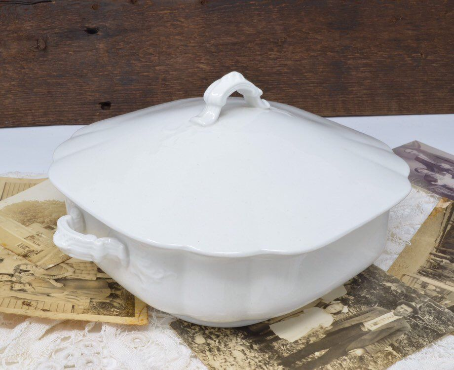 Vintage white ironstone covered vegetable dish tureen