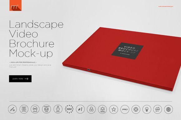 Landscape Video Brochure Mock Up Brochure Mocking Mockup