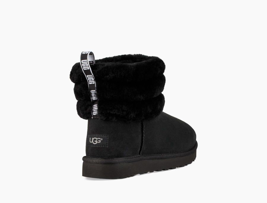 ugg black fluff mini quilted boots junior