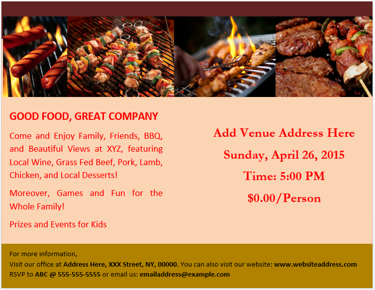 Bbq Party Brochure Template 2 Flyers And Brochures Pinterest