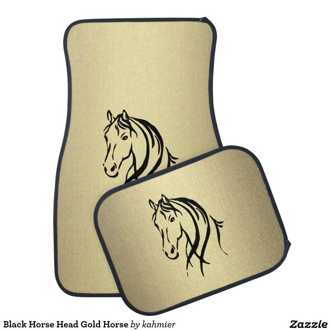 Black Horse Head Gold Horse Car Floor Mat Animals Horse Sense