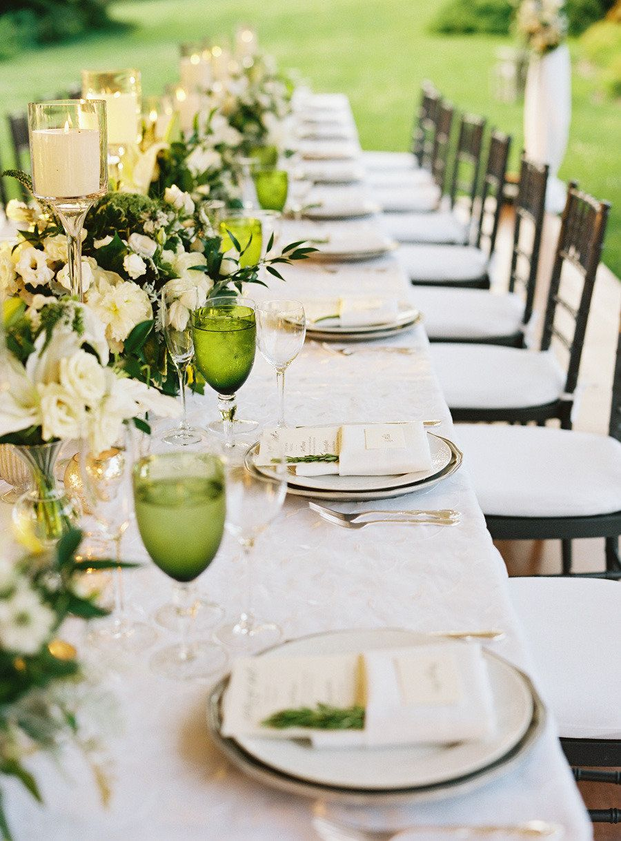 Fresh green tablescape. Floral Design by Hatch Creative Studio | hatchcreativestudio.com, Photography + Cinematography by Charlotte Jenks Lewis | charlottejenkslewis.com, Read more - http://www.stylemepretty.com/2013/06/17/bronx-wedding-from-charlotte-jenks-lewis-hatch-creative-studio/