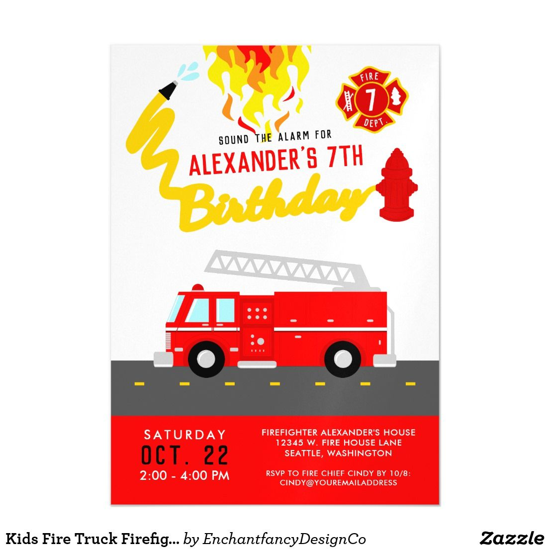 firefighter party theme red fire truck birthday magnetic invitation