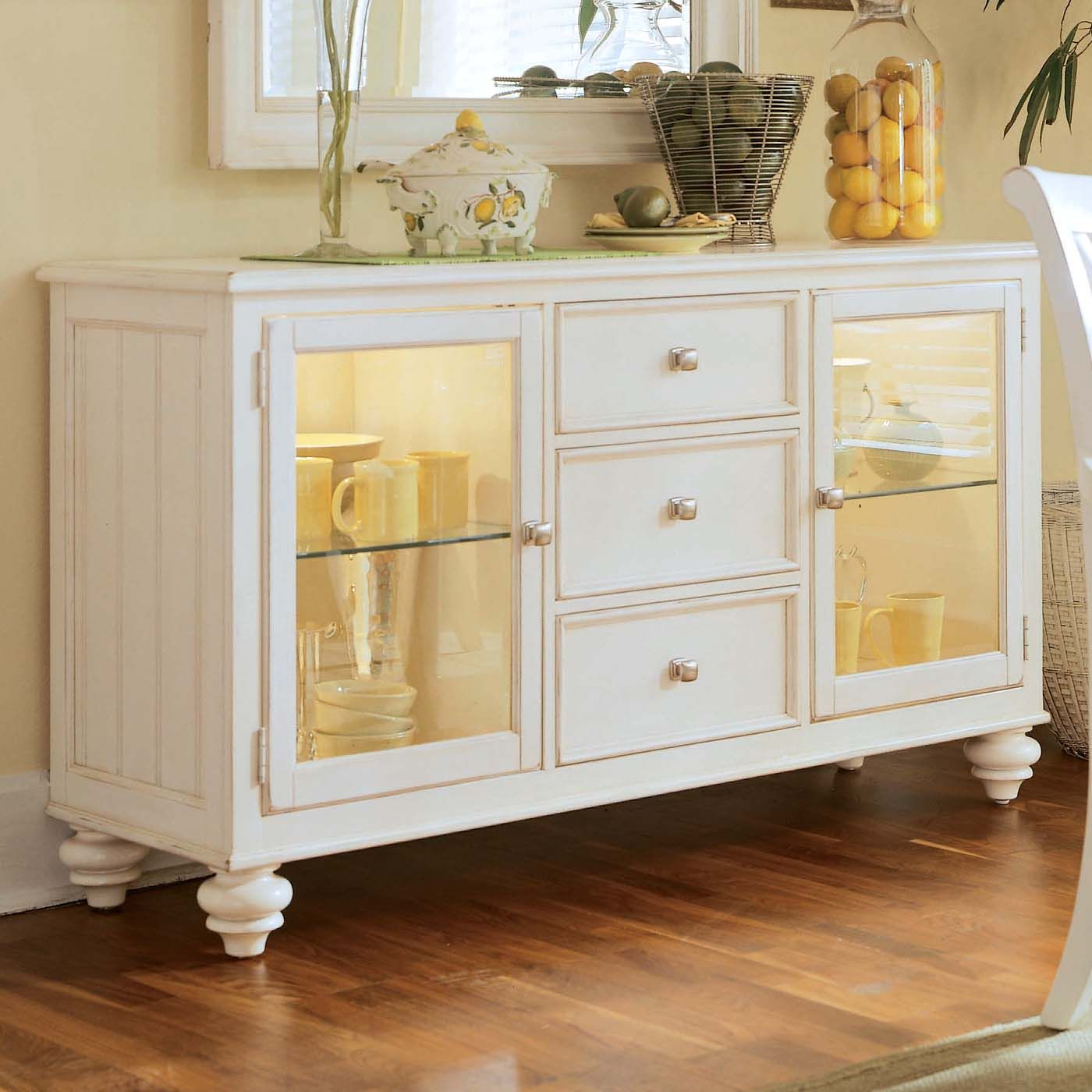 White buffet table furniture - American Drew Camden Antique White China Buffet Credenza Features 2 Glass Doors With 1 Adjustable Glass Shelf In Each 3 Drawers Silver Tray 2 Can Lights