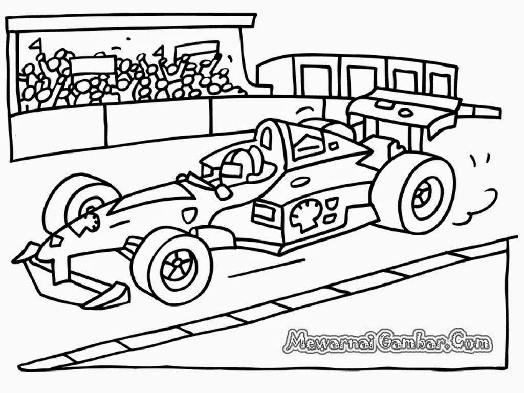mewarnai gambar mobil balap