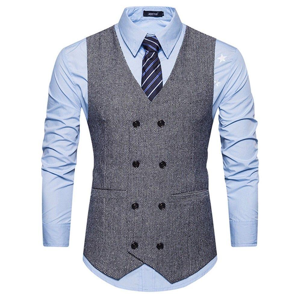 Men/'s Formal Business Vest Suit Coats Slim Double-Breasted Plaid Waistcoat Tops