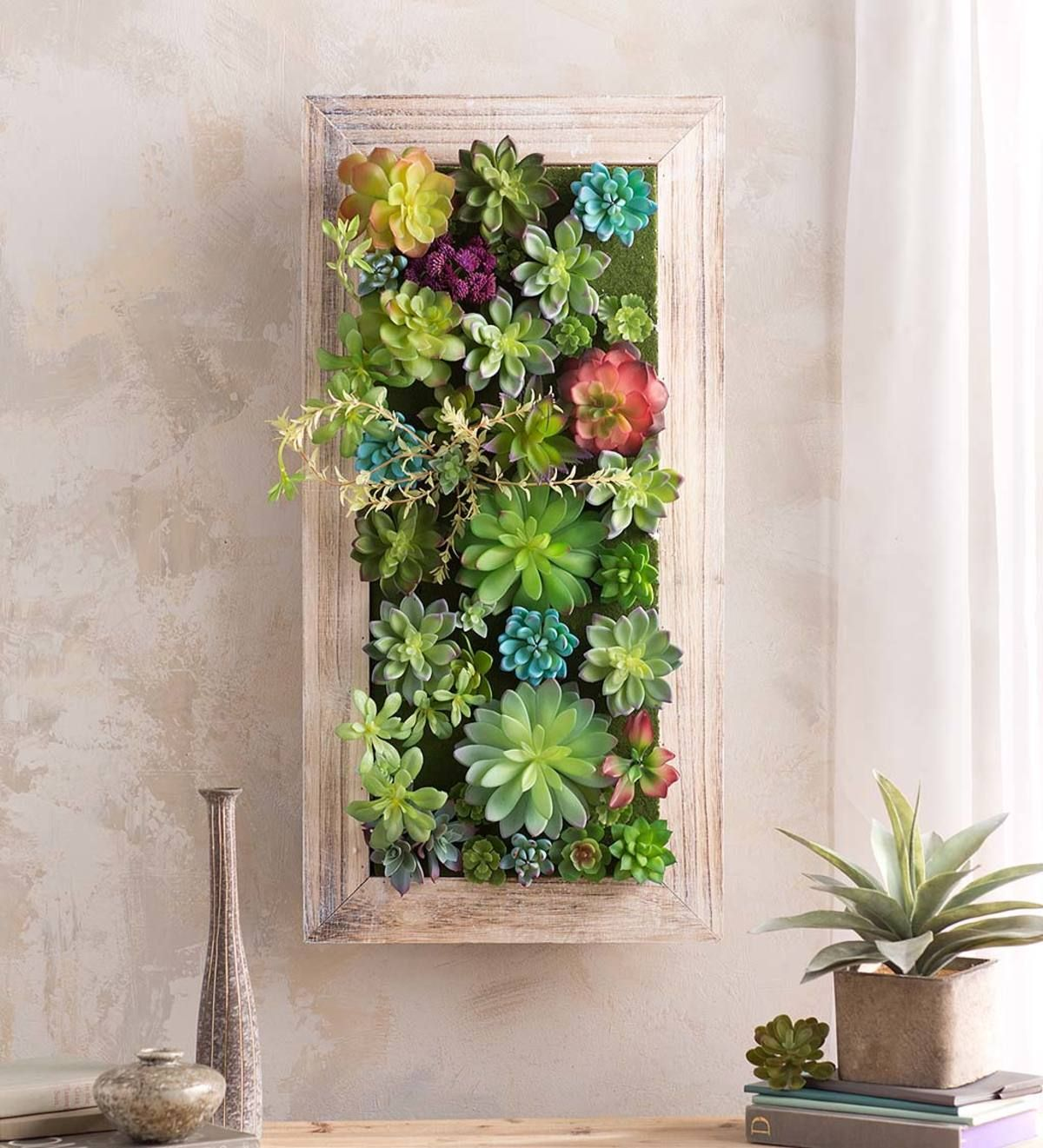 This Unique Faux Succulent Framed Wall Art Adds A Natural Flair To Your Decor Without Having To Worry About Succulent Frame Succulent Wall Art Faux Succulents