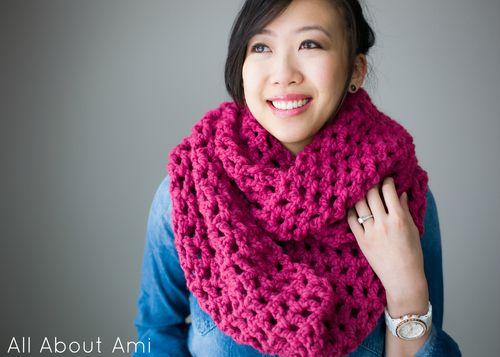 All About Ami Long Double Crochet Cowl Super Chunky Scarf At
