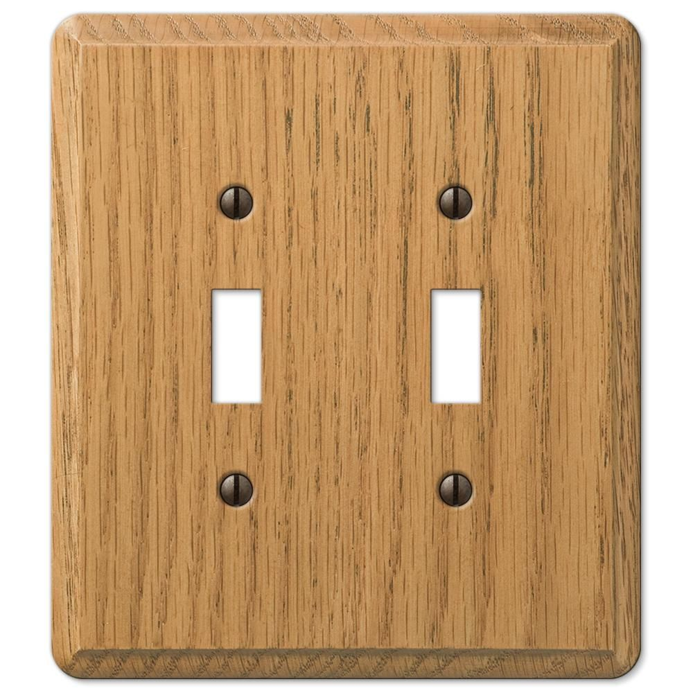 Amerelle Contemporary 2 Toggle Wall Plate Light Oak Wood