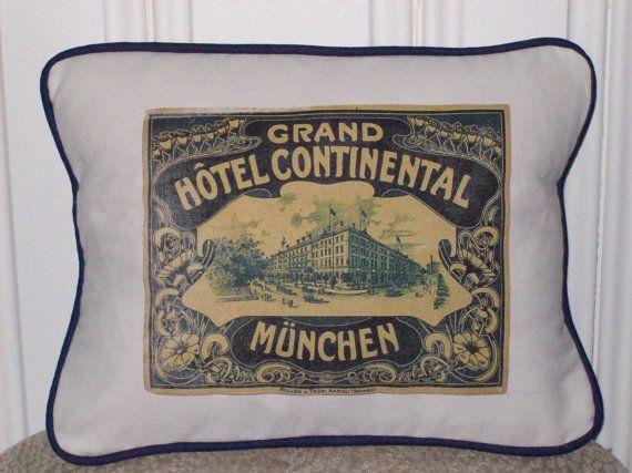 Shabby Chic Vintage Munich Hotel Luggage Tag Pillow Sham By Kreativbyerika 28 00 Www Kreativbyerika Etsy Com Shabby Chic Feed Sacks Shabby