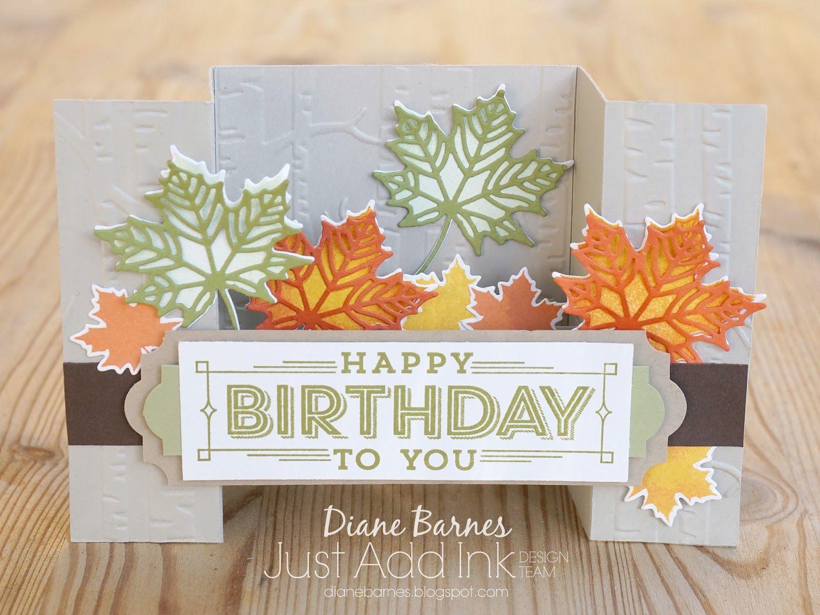 Handmade Autumm-Fall themed masculine birthday U-bridge fold