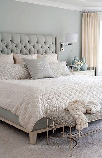 Bedroom Decor Ideas Transitional Style Light Grey Cream And White Color Pale Designs 2018 Grey Headboard Bedroom Bedroom Decor Bedroom Headboard