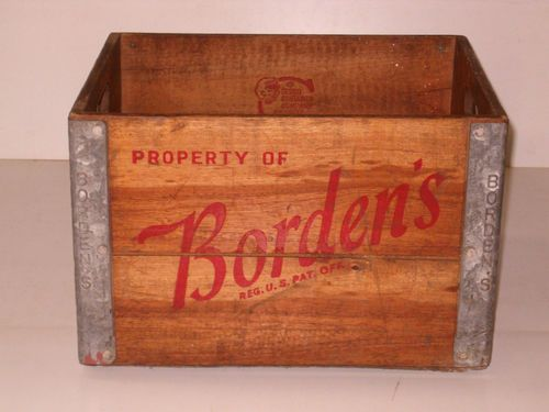 Old Vintage 1950s Bordens Wood Metal Wooden Milk Crate Boxthis