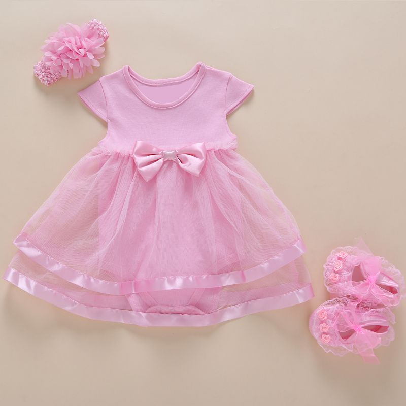 6be1211a5445 New Born Baby Girls Infant Dress clothes Summer Kids Party Birthday ...