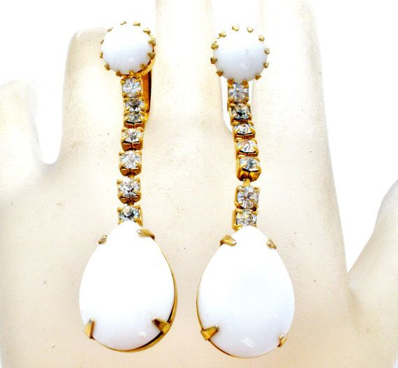 Sale White Rhinestone Earrings Gold Signed by TheJewelryLadysStore