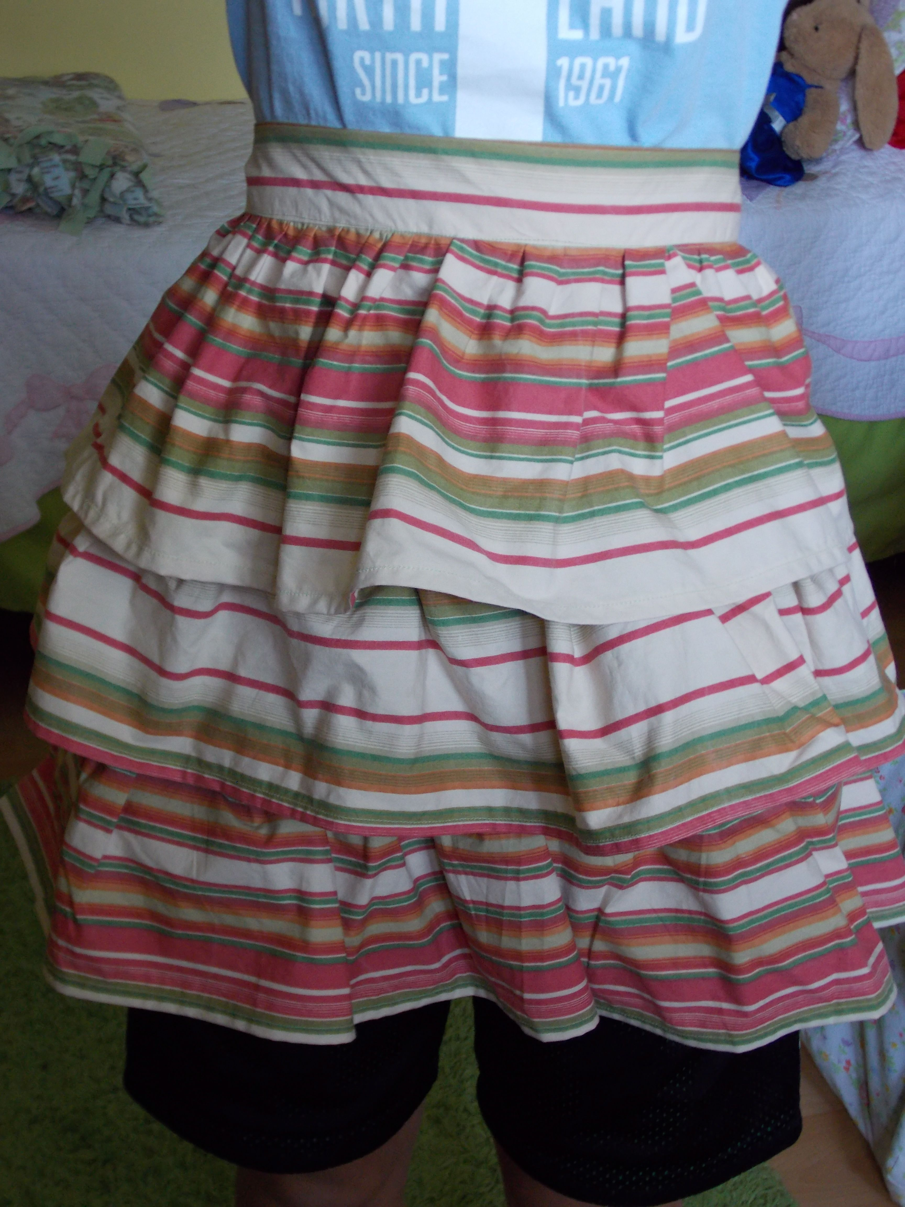 Hand sewn triple tiered apron made from vintage cotton sheet by content 2B sew.