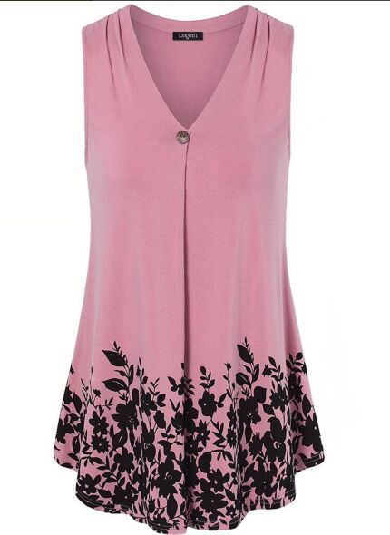 564110a296 Spring Summer Cotton Women V-Neck Floral Printed Sleeveless T-Shirts. Tunic  Blouse ...