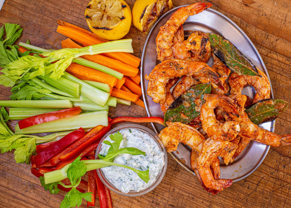 Grilled Buffalo Shrimp With Yogurt Blue-Ranch Dip - Rachael Ray