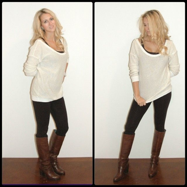 White oversized sweater, black leggings, brown boots | style ...