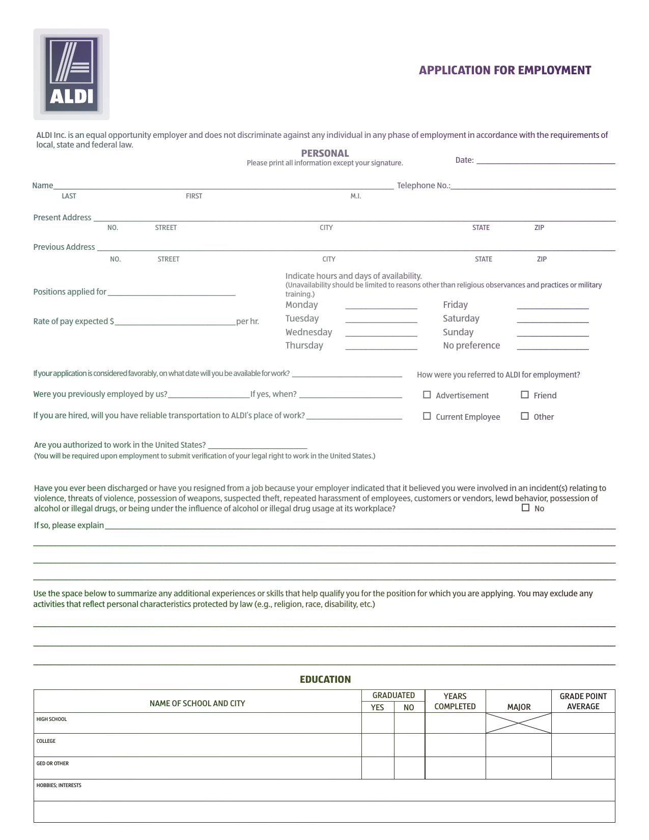 Aldi Application For Employment Aldi Application For Employment