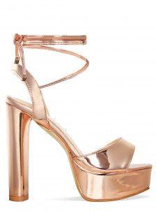 146aaf90e85f Maya Rose Gold Lace Up Platform Heels