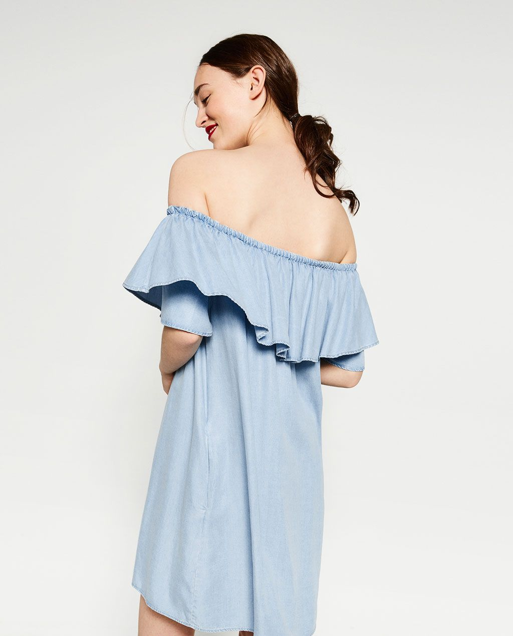 6f8ae885 DENIM OFF - THE-SHOULDER DRESS-View All-DRESSES-WOMAN | ZARA United States