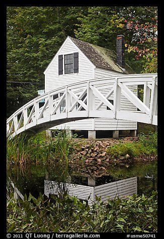 House And Arched Bridge Maine Usa Maine Pictures Outdoor Structures