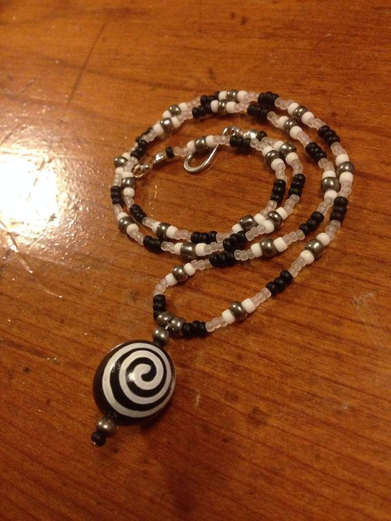 Sale Beaded Black White Necklace on Etsy, $11.00