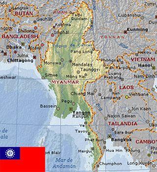Mapa de situación de Rangún
