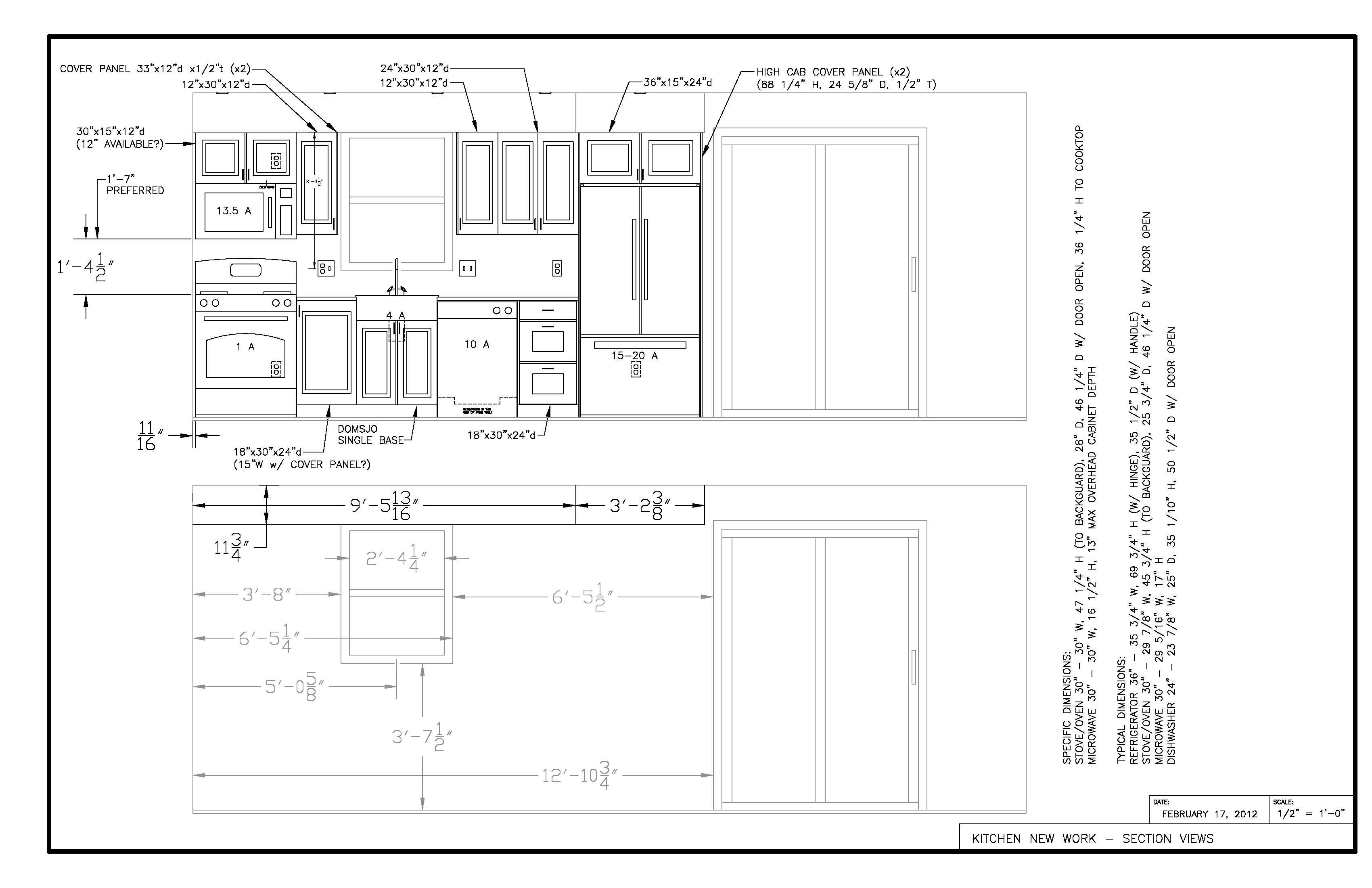 Kitchen Section View Current Working Drawing W Electrical Craftsman Floor Plans Floor Plans Large Floor Plans