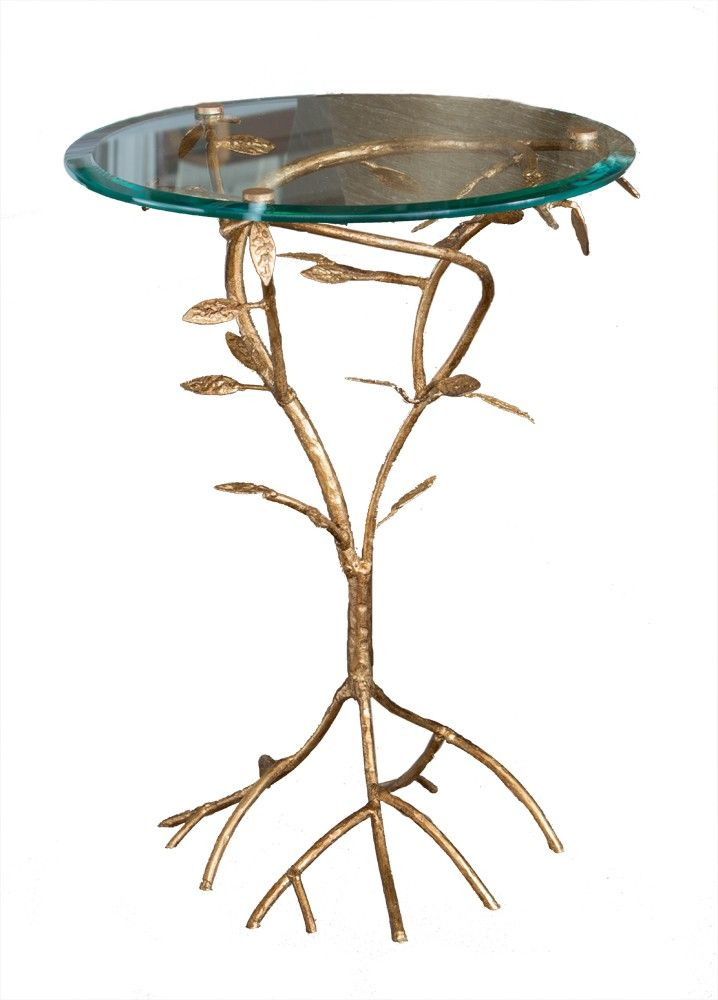 Nice Antiqued Glass Top Branch Side Table With Gold Leaf Finish