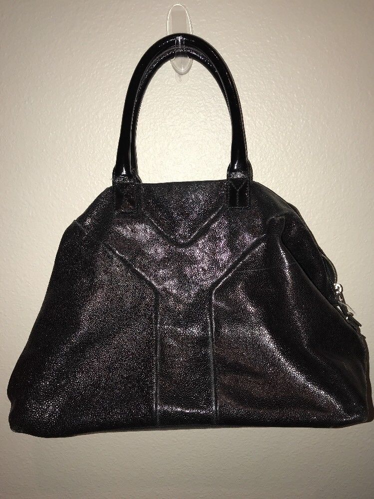 b1a77d2af Authentic RARE YVES SAINT LAURENT black Crackled leather EASY Bowling Bag |  eBay