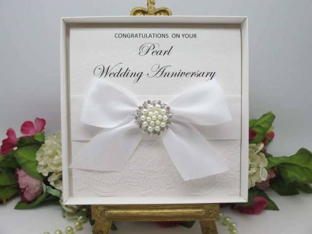 Pearl2 boxed pearl lace wedding anniversary card 30 years