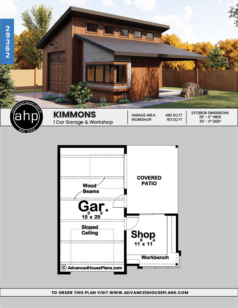 Modern Style Specialty Garage Plan Kimmons Hobby Garage Modern Garage Shed Plans