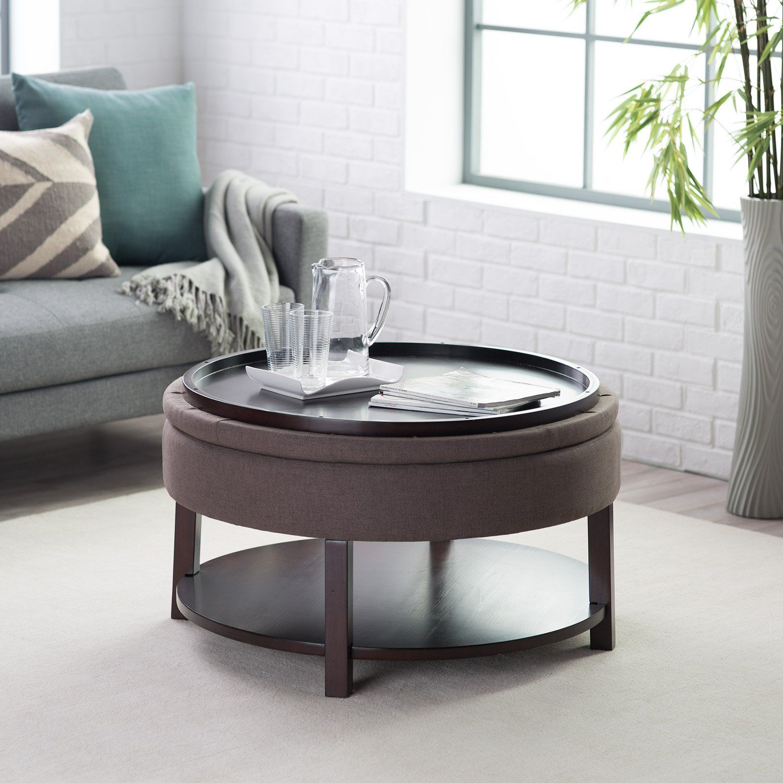 Merveilleux Ottoman Belham Living Dalton Coffee Table Round Tufted Storage Ottoman With  Tray U0026 Shelf   Ottomans At Hayneedle