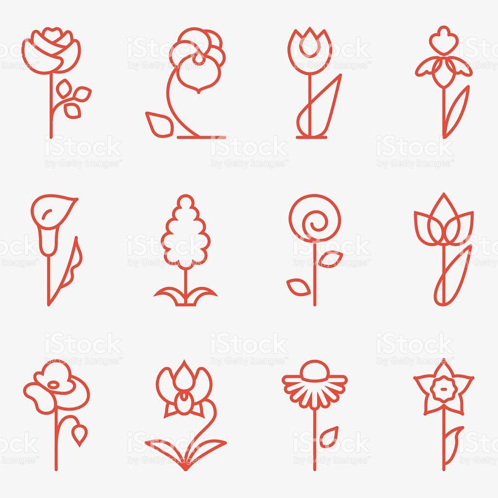 Iconos de flores illustracion libre de derechos libre de derechos