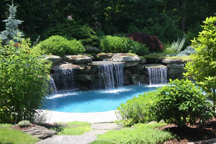 This Backyard Landscaping And Water Feature Swimming Pool