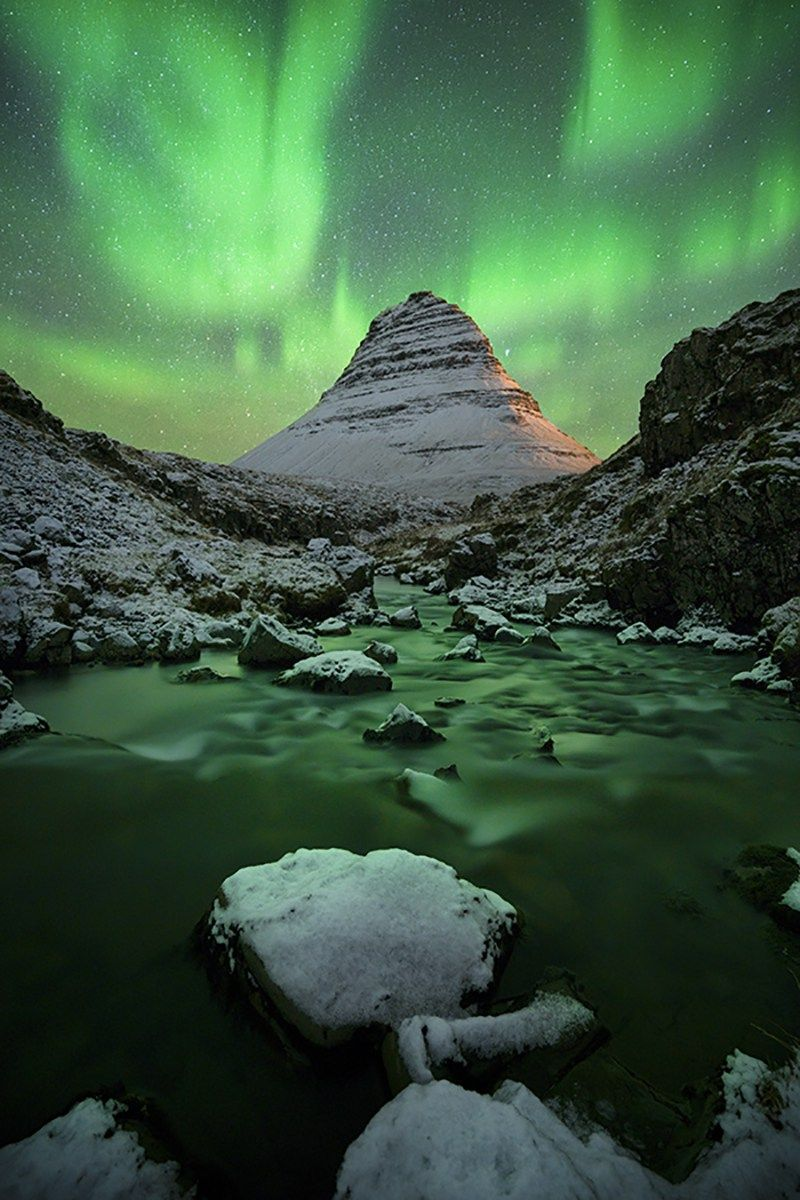 It snowed until midnight then we were eventually greeted by this sight. Kirkjufell Iceland [OC] (1500900) #reddit