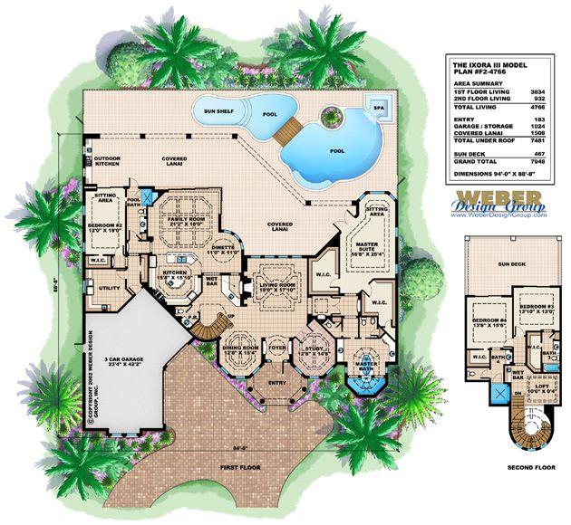 Ixora III Floor Plan by Weber Design Group Mediterranean Style