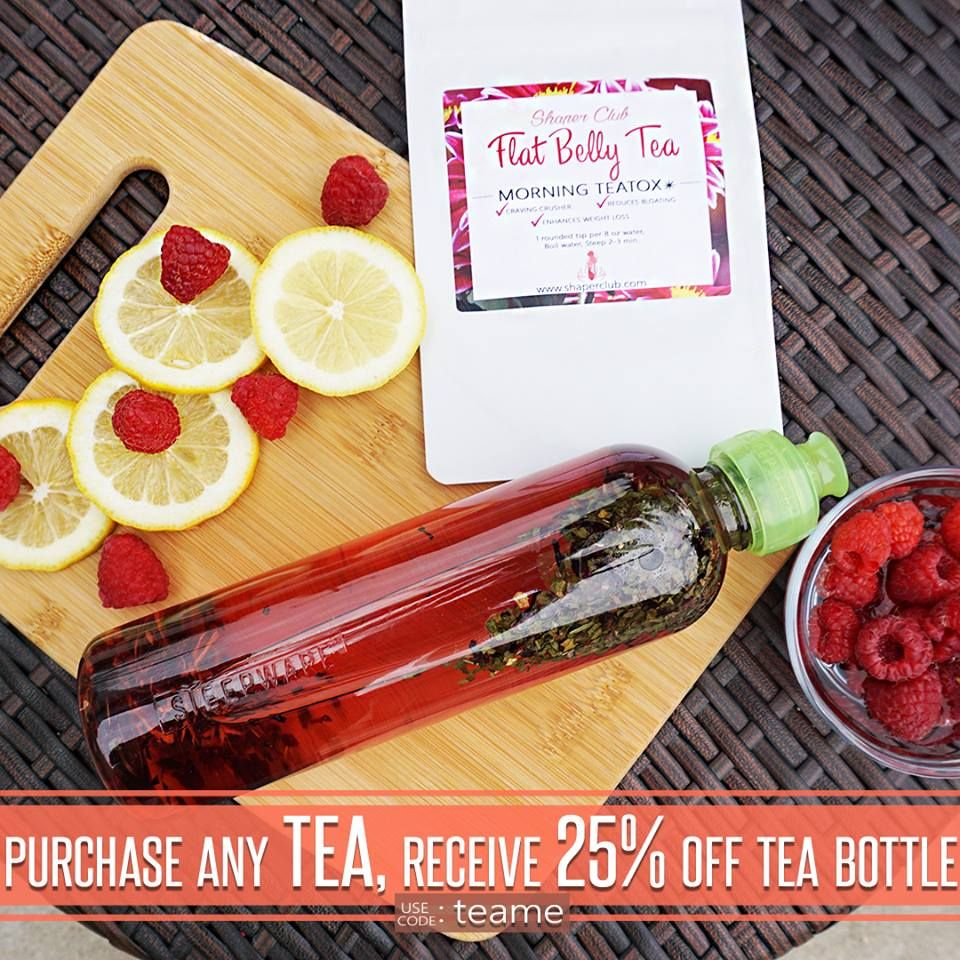 Our ☀️ Flat Belly Tea   Great Craving Crusher!  Belly Bloat Reducer!  Weight Loss Enhancer! ⛔️ Prevents Future Fat Formation Made in ☘A natural herbal teatime that will change your body for the better ❤️ Get yours today ☝️click link in bio. Or Visit www.shaperclub.com & Receive 25% OFF our Tea Bottle! Use code: TEAME
