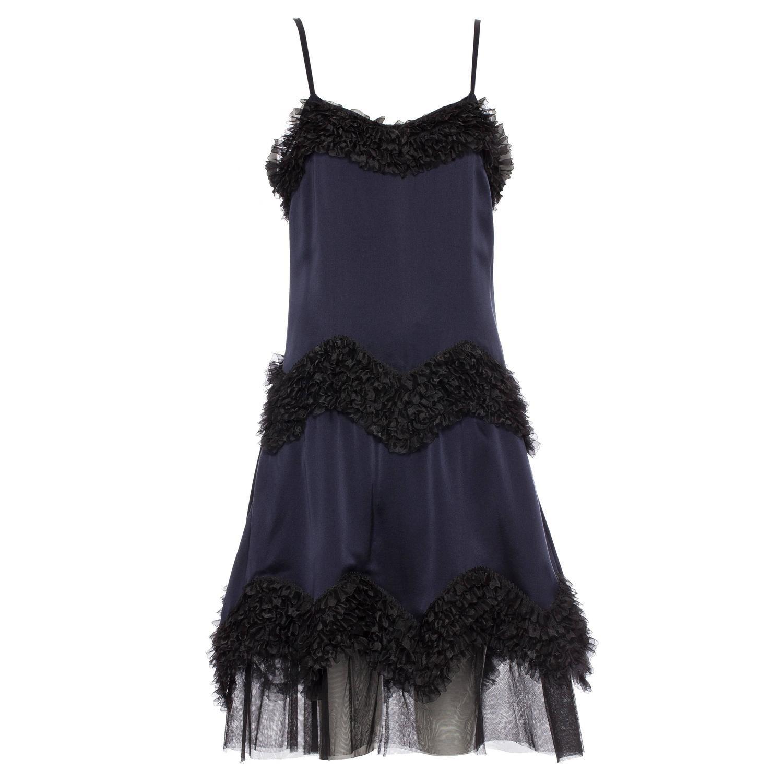 Chanel Midnight Blue Silk Satin Evening Dress, Pre - Fall 2004